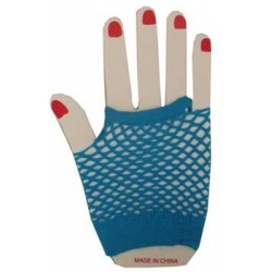 Gloves Fishnet Wrist Blue