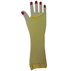 Yellow Fishnet Gloves Elbow