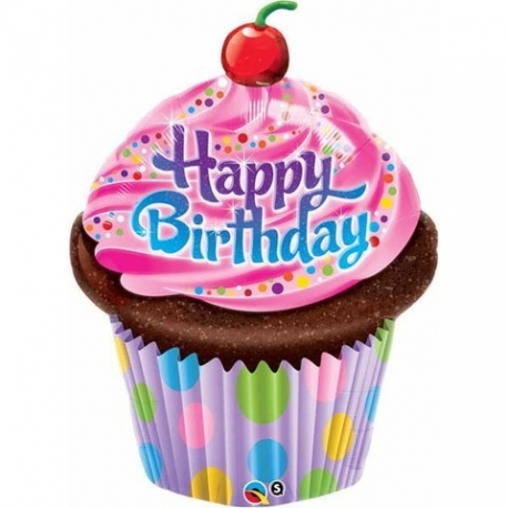 Birthday Frosted Cupcake Foil Balloon
