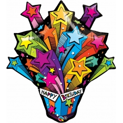 Shooting Stars Birthday Present Foil Balloon