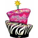 Birthday Funky Zebra Stripe Cake Foil Balloon