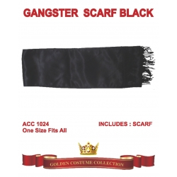 Gangster Black Scarf With Fringe