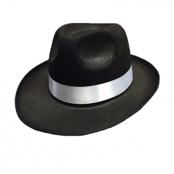 Gangster Black Fedora With White Ribbon