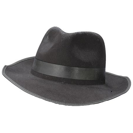 Gangster Black Fedora With Black ribbon