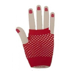 Gloves Fishnet Wrist Red