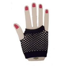 Gloves Fishnet Wrist Black