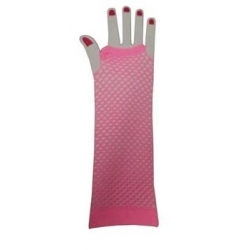 Pink Fishnet Gloves Elbow