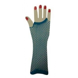 Blue Fishnet Gloves Elbow