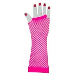 Hot Pink Fishnet Gloves
