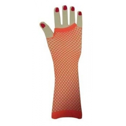 Orange Fishnet Gloves Elbow