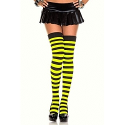 Yellow and Black Stripes Stockings Knee High