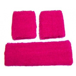 Head and Wristband Set Hot Pink