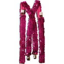 Hot Pink Sequin Suspenders