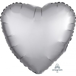 Satin Platinum Heart 45cm