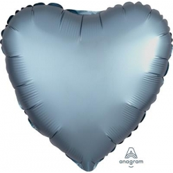 Satin Blue Steel Heart 45cm