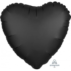 Satin Onyx Black Heart 45cm