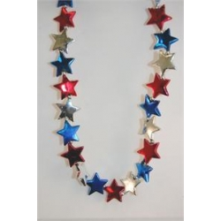 Red Blue Silver Star Necklace